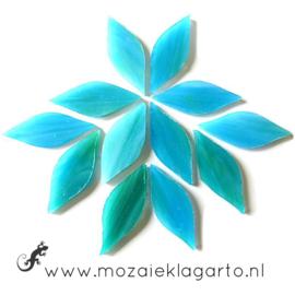 Bloemblaadjes Tiffanyglas 15x38x3 mm per 12 Licht Zeegroen 104-1