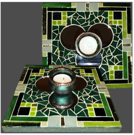 Mozaiek Spiegel/Waxinehouder Groen 018