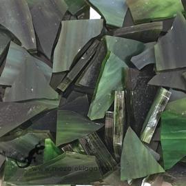 Gekleurde glasscherven Semi Translucent Olijfgroen CAG076st