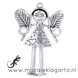 Hanger Engel metaal zilverkleurig 55 x 35 mm