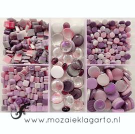 Glasmix in sorteerdoos 500 gram Mix Roze/Paars 500-5