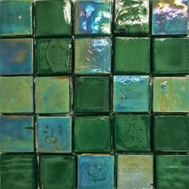 Glastegels 15 mm  Donkergroen Opaal per 25 tegels 133-15