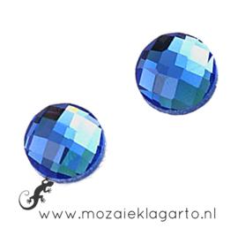Glas facet geslepen rond 20 mm per 2  Blauw 704
