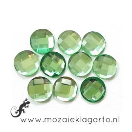 Glas facet geslepen rond 12 mm per 10  Groen 606