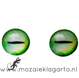 Cabochon/Plaksteen Oogjes per 2 Groen/Geel/Wit 301-18