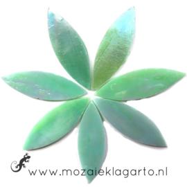 Bloemblaadjes Tiffanyglas 16x50x3 mm per 7 Pistachegroen Iriserend 018-2