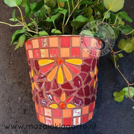 Mozaiekpakket 46 Plantenbak Muurbloempje Rood/Oranje