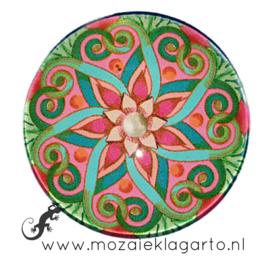 Cabochon/Plaksteen Glas 30 mm Mandala Groen - Roze 70005