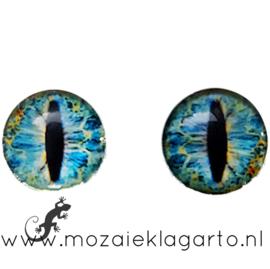 Cabochon/Plaksteen Oogjes per 2 Blauw/Bruin 305-15