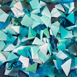 Gekleurde glasscherven 200 gram Zeegroen Mix 005