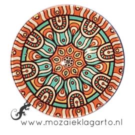 Cabochon/Plaksteen Glas 30 mm Mandala Crème - Zeegroen - Oranje  23215