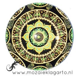 Cabochon/Plaksteen Glas 30 mm Mandala Groen 23213