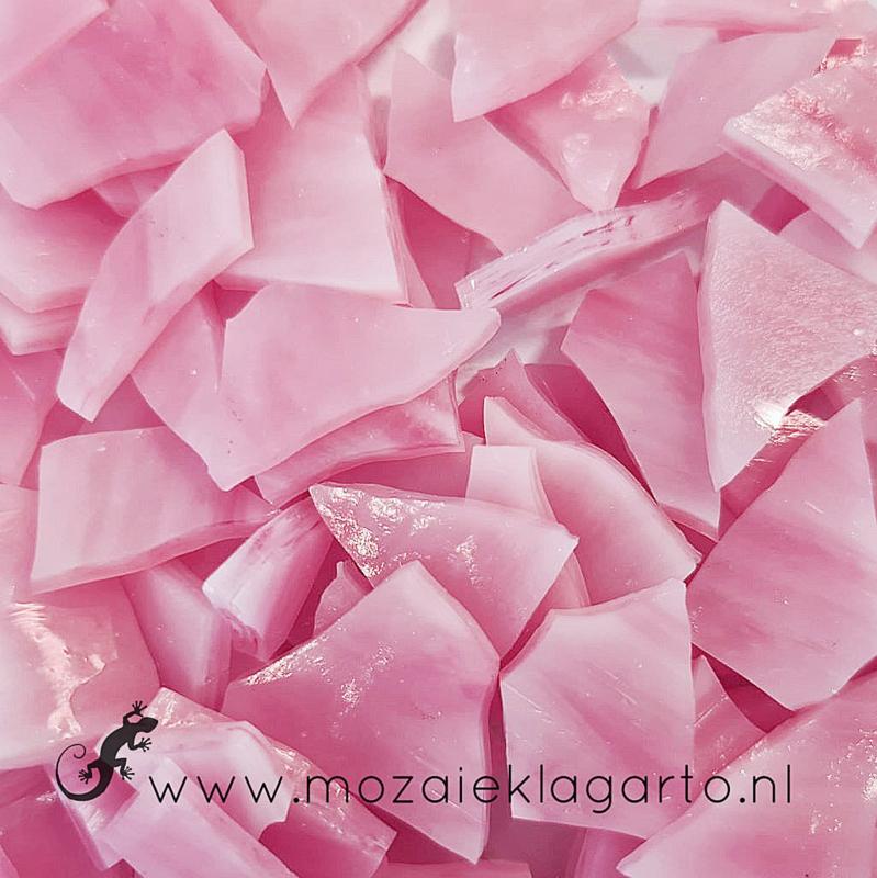 Gekleurde glasscherven Semi Translucent Roze - Wit Y052st