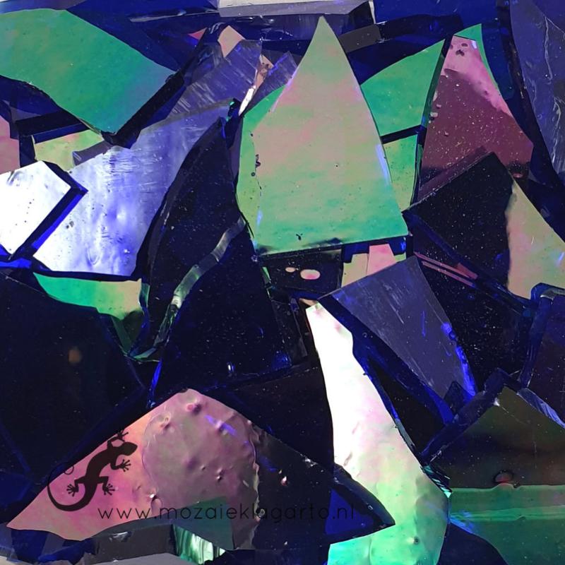 Gekleurde glasscherven Indigo Iriserend CAG025i