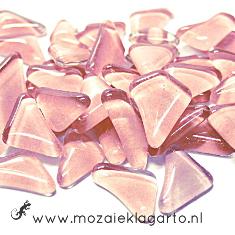 Mozaiek puzzelstukjes Soft Glas 100 gram Roze  003