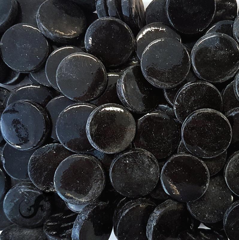 Glastegel Rond 18 mm per 50 gram Zwart 049