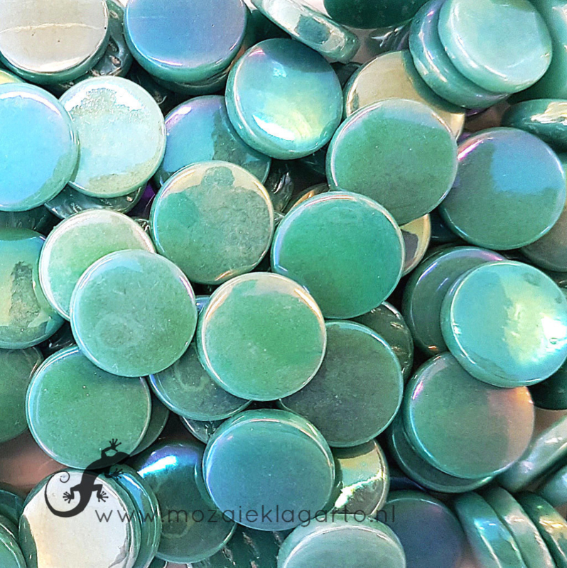 Glastegel Rond 18 mm Parelmoer per 50 gram Zeegroen 014P