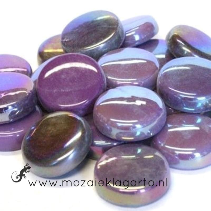 Glastegel Rond 20 mm per 100 gram Paarse Mix 008