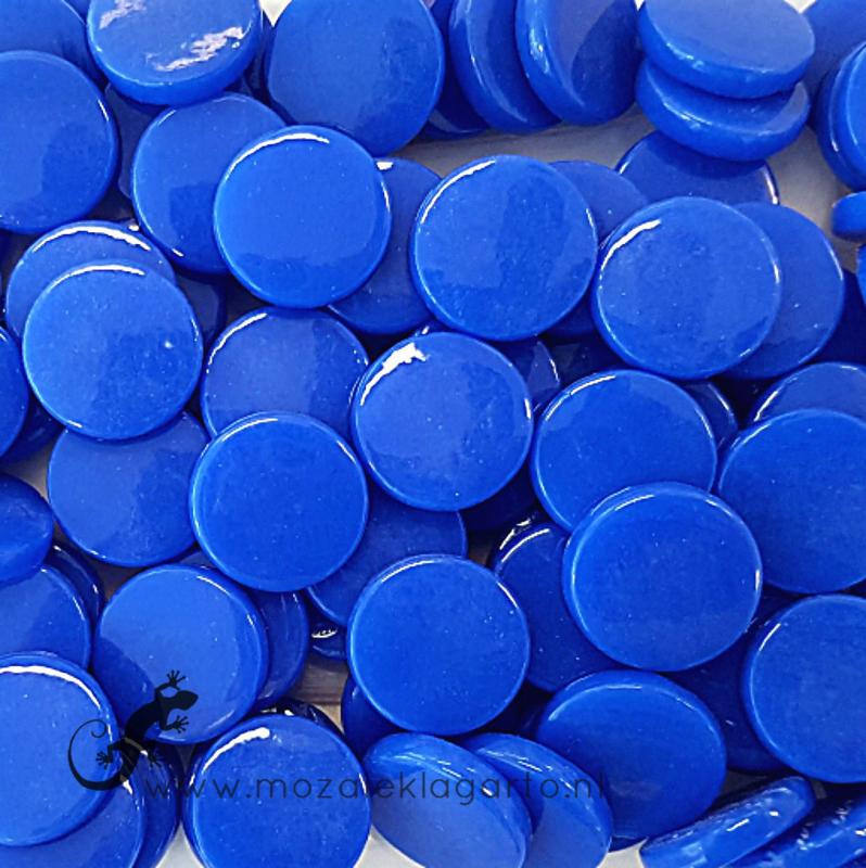 Glastegel Rond 18 mm per 50 gram Briljant Blauw 069