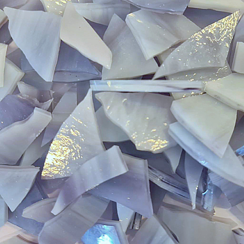 Gekleurde glasscherven Opaal Lila - Wit  W2180o