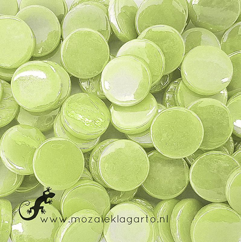 Glastegel Rond 18 mm Parelmoer per 50 gram Pastelgroen 003