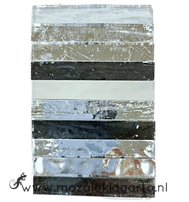 Tiffany Spiegelglas reepjes 1x6.5 cm per 10 Zwart/Wit/Zilver 012