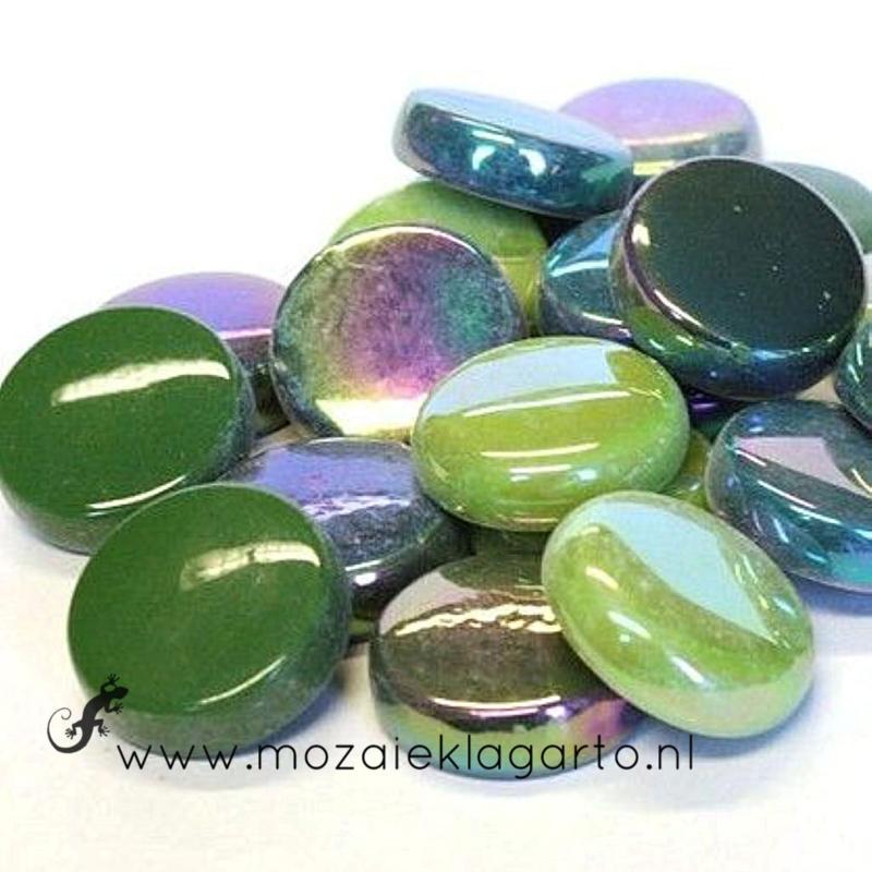 Glastegel Rond 20 mm per 100 gram Groene Mix 006