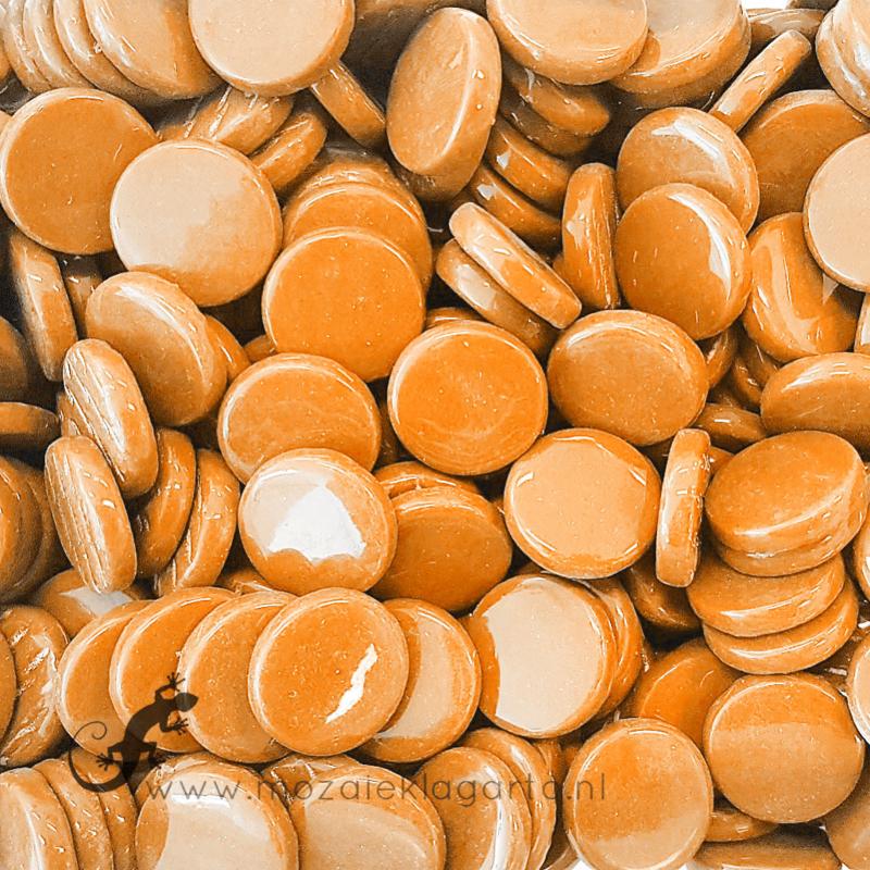 Glastegel Rond 18 mm Toffee per 50 gram 094