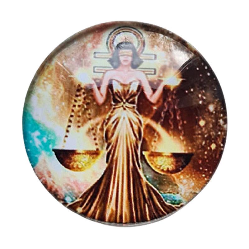 Cabochon/Plaksteen Glas 25 mm Horoscoop Weegschaal 1121