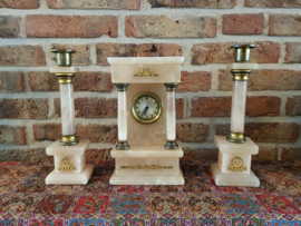 Vintage Dutch Coffee/Tea warmer and  German Marmer Clock with two Matching Candlesticks