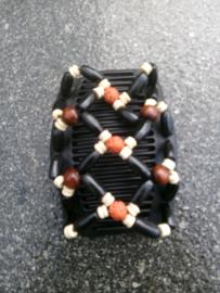 african hairclip 8 indiaans motief in zwart
