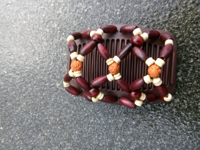 african hairclip 12 indiaans motief bordeaux