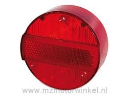 Achterlicht kap rood 3 schroeven Ø120 met KZB