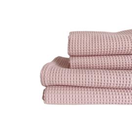 Wieg-/ ledikantdeken - Wafelkatoen  Pique nude roze