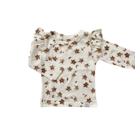 Longsleeve - RUFFLE flower Brown