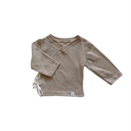 Longsleeve - Overslag Taupe cotton ajour