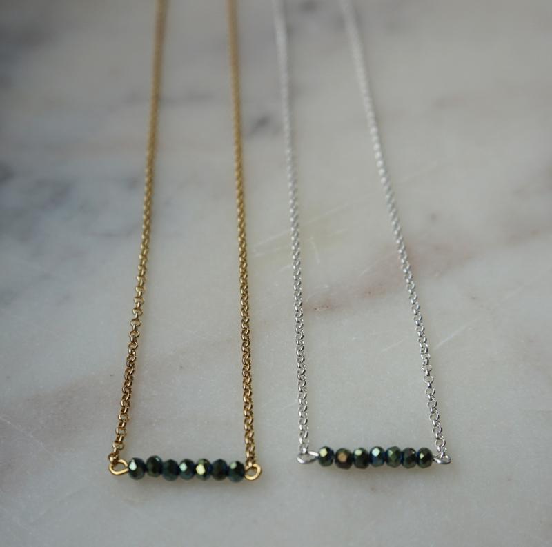 Necklace metallic stones