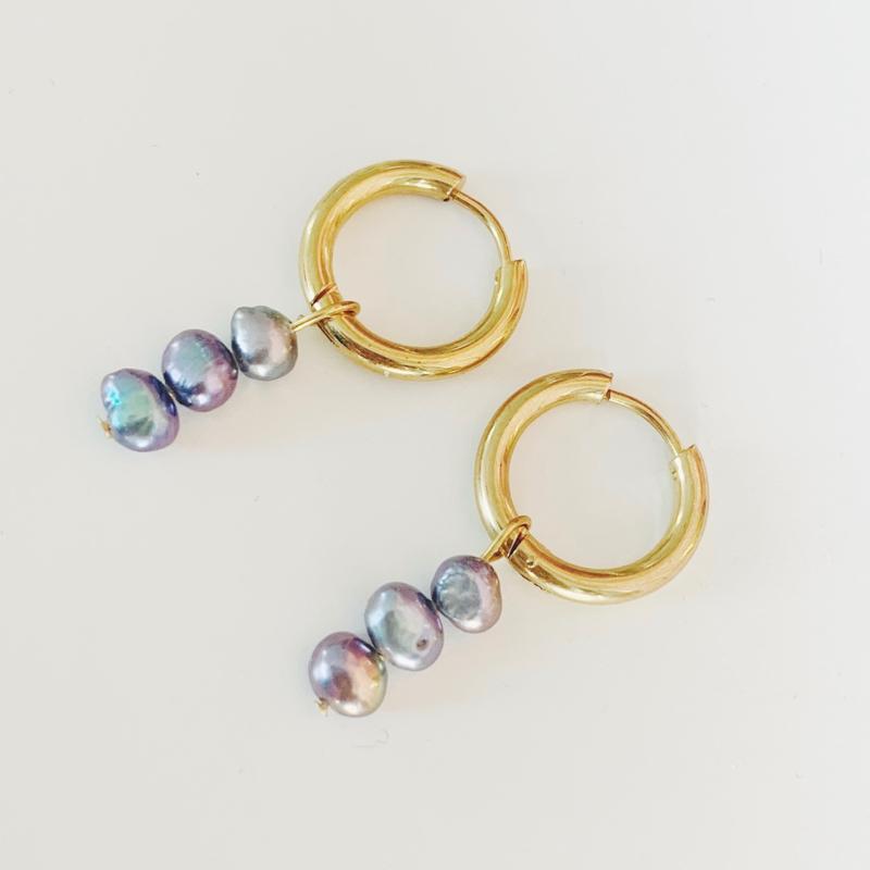 Triple Peacock earring