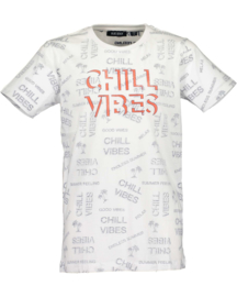 CHILL VIBES, WIT SHIRT MET AOP