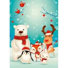 brief groepsfoto kerstdieren, klein