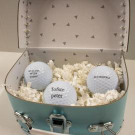 Golfballen vraag peter, set van 3 in koffertje