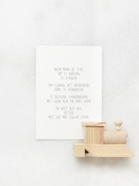 Mini poster met gedicht: Neem maar de tijd