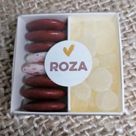 Roza, 10 kartonnen schuifdoosjes met verdeelvak