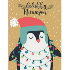 brief pinguin met kerstlichtjes, groot