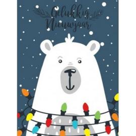 brief ijsbeer met kerstlichtjes, groot