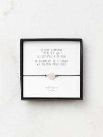 Rozenkwarts armbandje met gedichtje – vraag meter