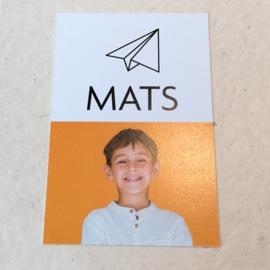 Bedankkaartje met papieren vliegtuigje