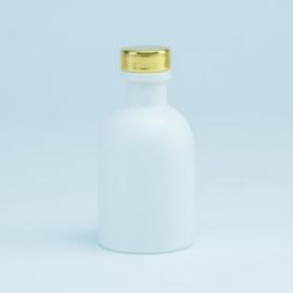 wit glazen luxe flesje met gouden dopje