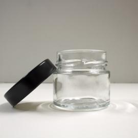 glazen potje met zwart schroefdeksel