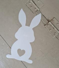 Raamsticker statische raamfolie konijn hartje staartje herbruikbaar.